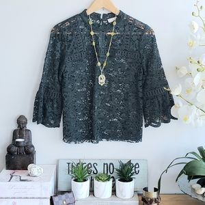 Loft bell sleeves mock neck lace top